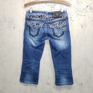 Miss Me Thick Stitch Bling Cropped Sz 30x18